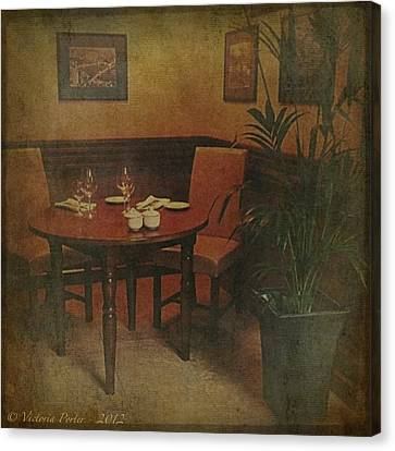 Quiet Nook In Hotel Dining Room Canvas Print