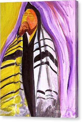 Rabbi Praying With Kabbalah Canvas Print by Stanley Morganstein