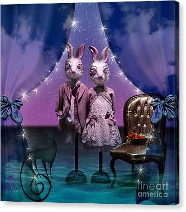 Rabbits In Love Canvas Print