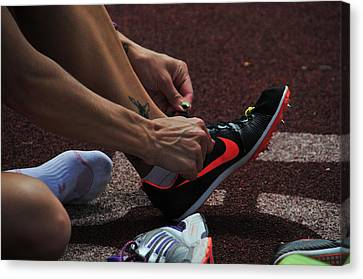 Race Preperations Canvas Print by Mike Martin