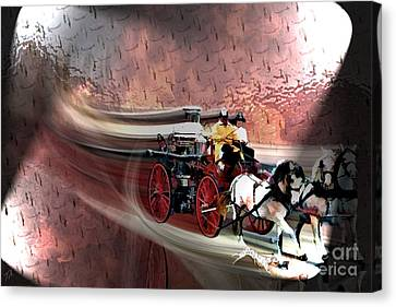 Steamer Truck Canvas Print - Racing To The Scene by Tommy Anderson