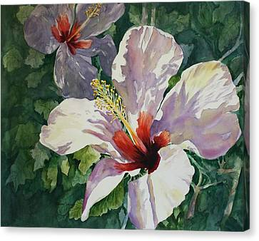 Canvas Print featuring the painting Radiant Light - Hibiscus by Roxanne Tobaison