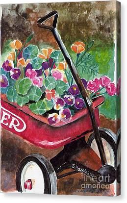 Radio Flyer Garden Canvas Print by Sheryl Heatherly Hawkins