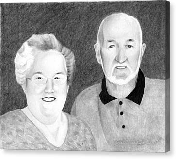 Canvas Print featuring the drawing Raeleen And Jim Campbell by Ana Tirolese