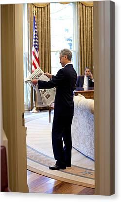 Rahm Emanuel Looks At A Newspaper Canvas Print