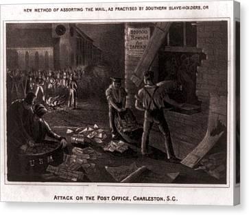 Raid On The Charleston Post Office Canvas Print by Everett