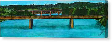 Railroad Bridge At Lady Bird Lake Austin Texas Canvas Print by Manny Chapa