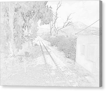 Railroad Crossing In Pencil Sketch Look On The Way From Mycenae To Olympia In Greece Canvas Print by John Shiron