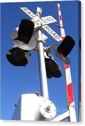 Railroad Crossing Sign And Gate . 7d10645 Canvas Print by Wingsdomain Art and Photography
