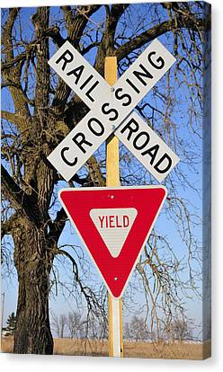 Railroad Crossing, Sycamore, Illinois, Usa, December 2010 Canvas Print by Bruce Leighty