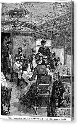 Railroad: Dining Car, 1880 Canvas Print by Granger