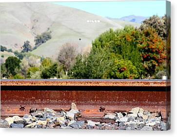 Railroad Track In Fremont California Near Historic Niles District In California . 7d12676 Canvas Print by Wingsdomain Art and Photography