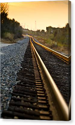 Railroad Tracks At Sundown Canvas Print by Carolyn Marshall