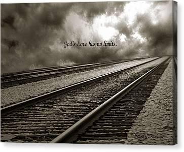 Railroad Tracks Storm Clouds Inspirational Message  Canvas Print by Kathy Fornal