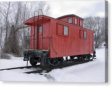 Railroad Train Red Caboose Canvas Print by Randall Nyhof