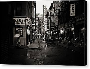City Streets Canvas Print - Rain - Pell Street - New York City by Vivienne Gucwa