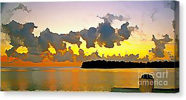Canvas Print featuring the photograph Rain Clouds At Sunset by Joan McArthur