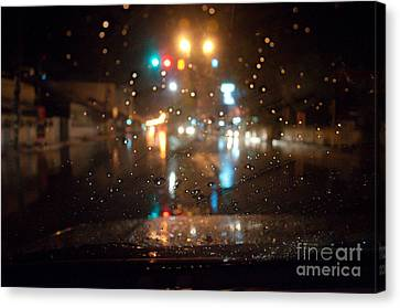 Rain Drop At Front Car Mirror Canvas Print by Ngarare