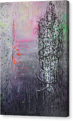 Canvas Print featuring the painting Rain In The Bird Cage by Lolita Bronzini