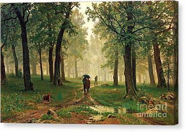 Rain In The Oak Forest Canvas Print by Pg Reproductions