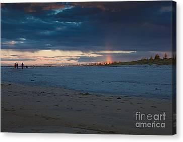Rain On A Beach Canvas Print by John Buxton