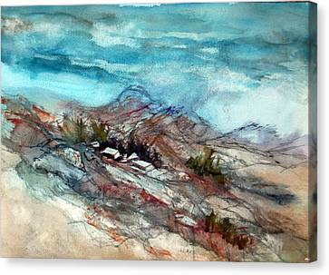 Canvas Print featuring the painting Rain Over The Mountain by Ron Stephens
