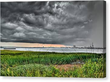 Rain Rolling In On The River Canvas Print by Andrew Crispi