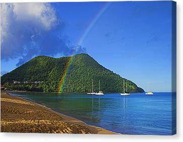 Canvas Print featuring the photograph Rainbow And Boats- St Lucia by Chester Williams