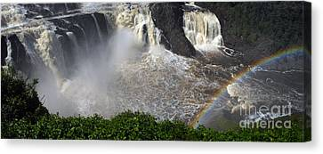 Canvas Print featuring the photograph Rainbow And The Waterfall by Vilas Malankar