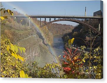 Canvas Print featuring the photograph Rainbow At Lower Falls by William Norton