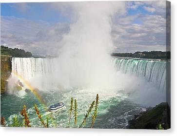 Rainbow At Niagara Falls Canvas Print by Aaron Reker Photography