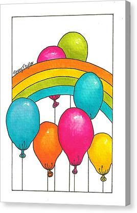 Canvas Print featuring the painting Rainbow Balloons by Terry Taylor