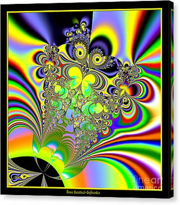 Rainbow Butterfly Bouquet Fractal 56 Canvas Print by Rose Santuci-Sofranko