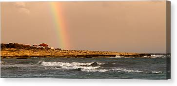 Rainbow By The Sea Canvas Print by Stelios Kleanthous