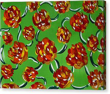 Canvas Print featuring the painting Rainbow Flowers Green by Gioia Albano