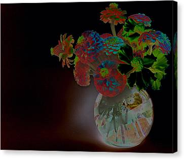 Rainbow Flowers In Glass Globe Canvas Print by Padre Art