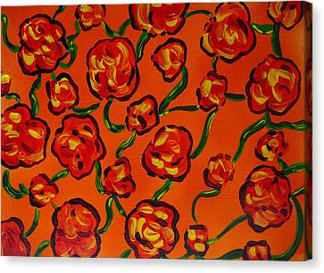 Canvas Print featuring the painting Rainbow Flowers Orange by Gioia Albano