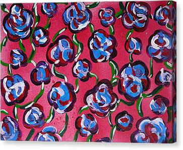 Canvas Print featuring the painting Rainbow Flowers Red by Gioia Albano