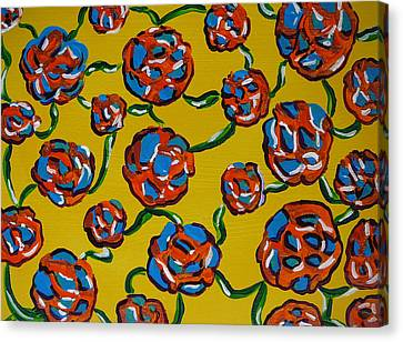 Canvas Print featuring the painting Rainbow Flowers Yellow by Gioia Albano
