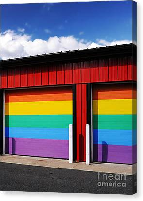 Rainbow Garage Canvas Print by HD Connelly