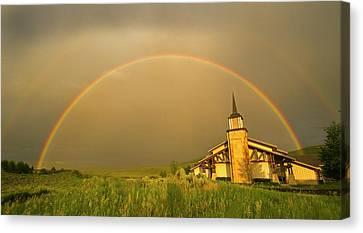 Rainbow In Stormy Sky Canvas Print by Tom Kelly Photo