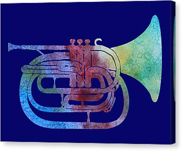 Rainbow Marching French Horn Canvas Print by Jenny Armitage