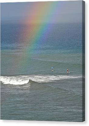 Canvas Print featuring the photograph Rainbow Mists And Surfing Too by Kirsten Giving