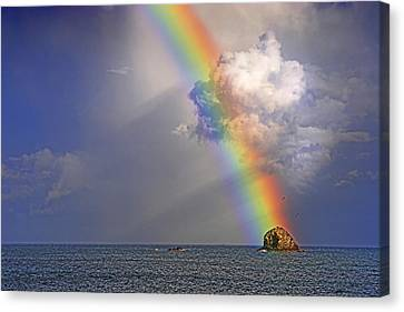 Canvas Print featuring the photograph Rainbow On Birdrock- St Lucia. by Chester Williams