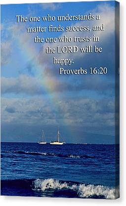 Rainbow Over Deep Blue Sea Pro. 16v20 Canvas Print by Linda Phelps