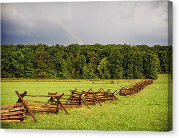 Rainbow Over Gettysburg Canvas Print by Jen Morrison