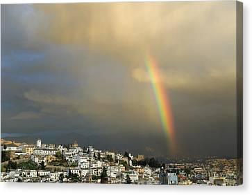 Rainbow Over Granada Yesterday Canvas Print by Guido Montanes Castillo