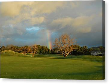 Canvas Print featuring the photograph Rainbow Over Princeville by Lynn Bauer