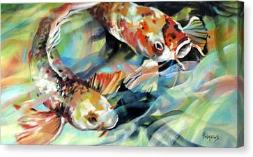 Canvas Print featuring the painting Rainbow Patterns by Rae Andrews