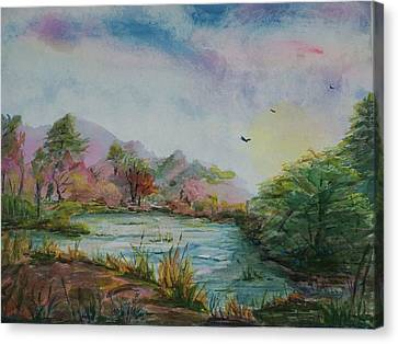 Rainbow Pond Canvas Print